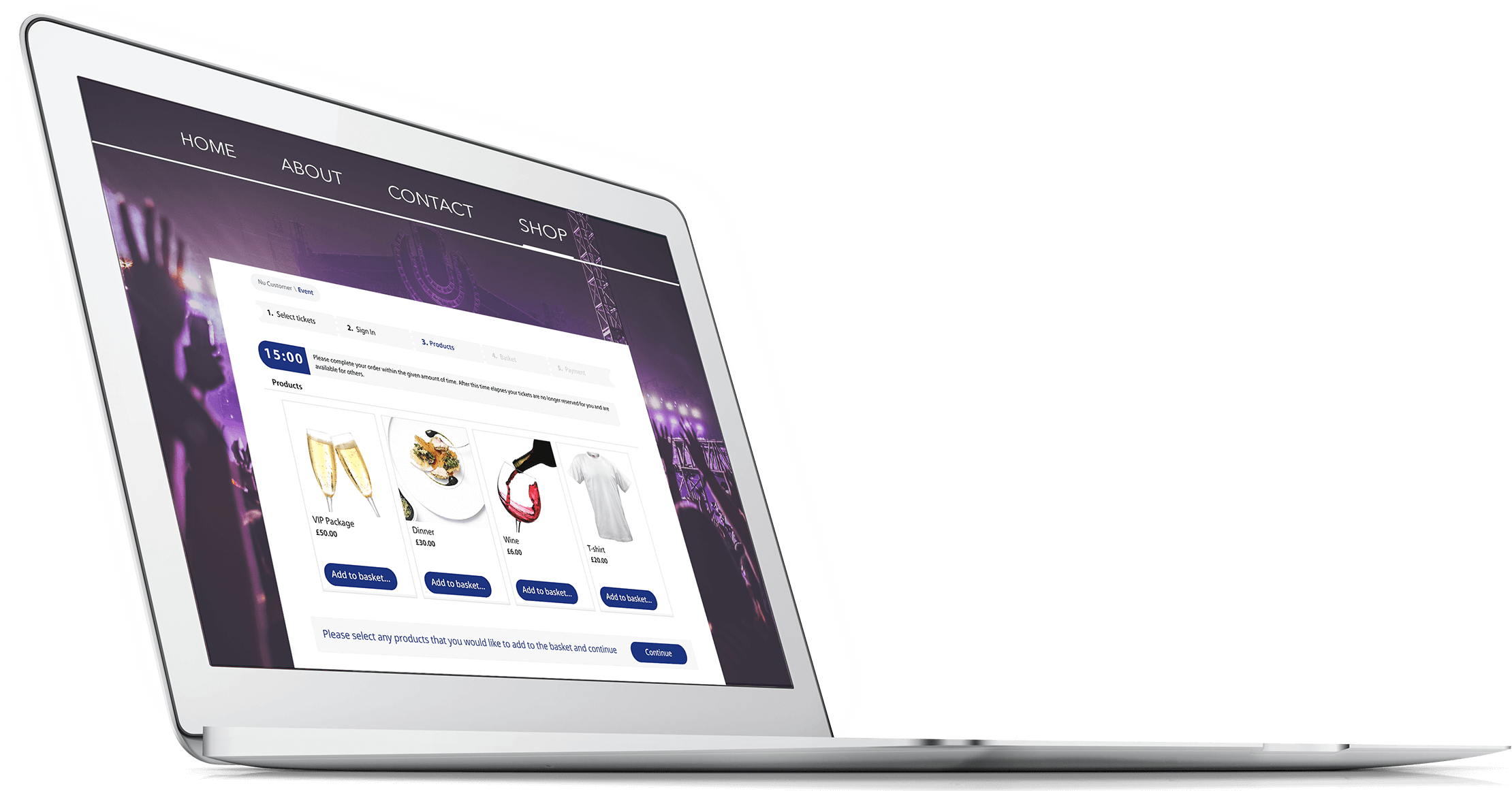 Selling event merchandise with tickets straight from your own website
